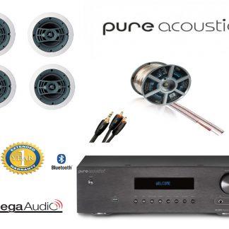 חבילה: רמקולים שקועים Omega W150 + רסיבר PureAcoustics + כבלים