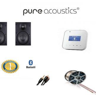 חבילה: זוג רמקולים שקועים SSL-522 PureAcoustics + רסיבר Bluetooth PureAcoustics + כבלים