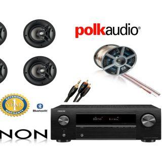 חבילה: רמקולים שקועים Polk Audio v60 + רסיבר Denon + כבלים