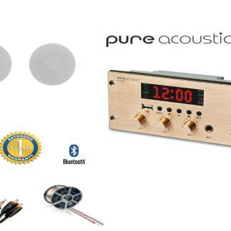חבילה: זוג רמקולים שקועים HSR109-5T PureAcoustics + רסיבר Bluetooth PureAcoustics + כבלים