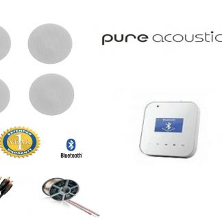 חבילה: רמקולים שקועים 163-6T PureAcoustics + רסיבר Bluetooth PureAcoustics + כבלים