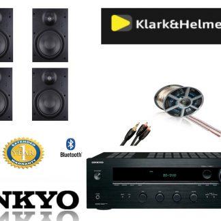 חבילה: רמקולים שקועים Klark & Helmer + רסיבר Onkyo + כבלים