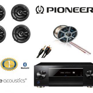 חבילה: רמקולים שקועים 522 PureAcoustics + רסיבר Pioneer+ כבלים