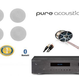 חבילה: רמקולים שקועים 163-6T PureAcoustics + רסיבר PureAcoustics + כבלים